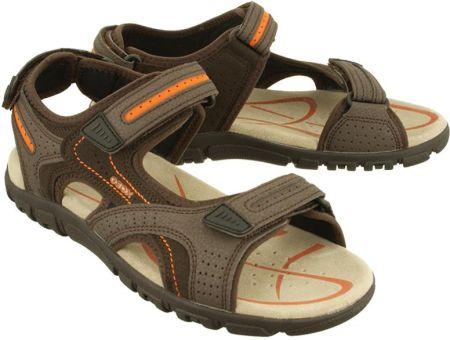 a670ee9ac415b GEOX U8224D S.STRADA 050AU C6Z7L ebony/ dk orange, sandały męskie - Brązowy