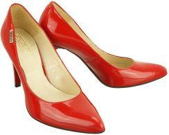 0945d6f9f785c EMBIS 1406 czerwony lakier, czółenka damskie na szpilce - Czerwony