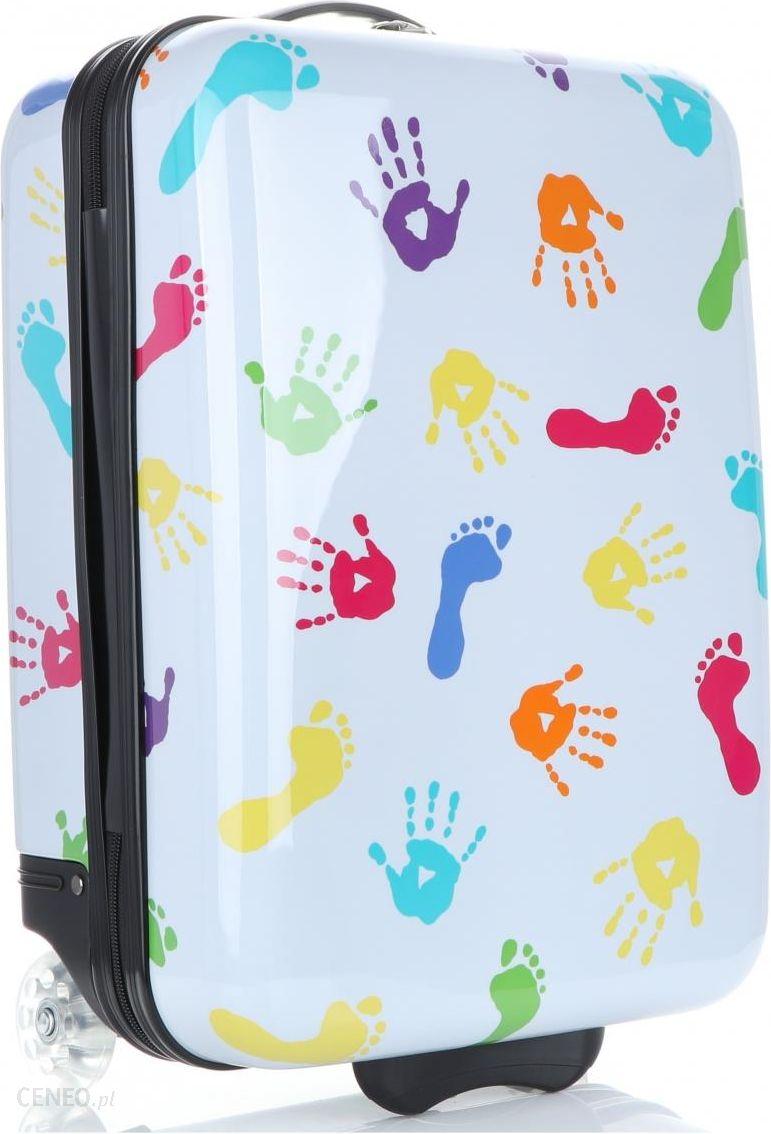 a6c75c7d5b24f Oryginalne Walizki Kabinówki Dla Dzieci w motyw rąk i stóp firmy Snowball  Multikolorowe Białe (kolory