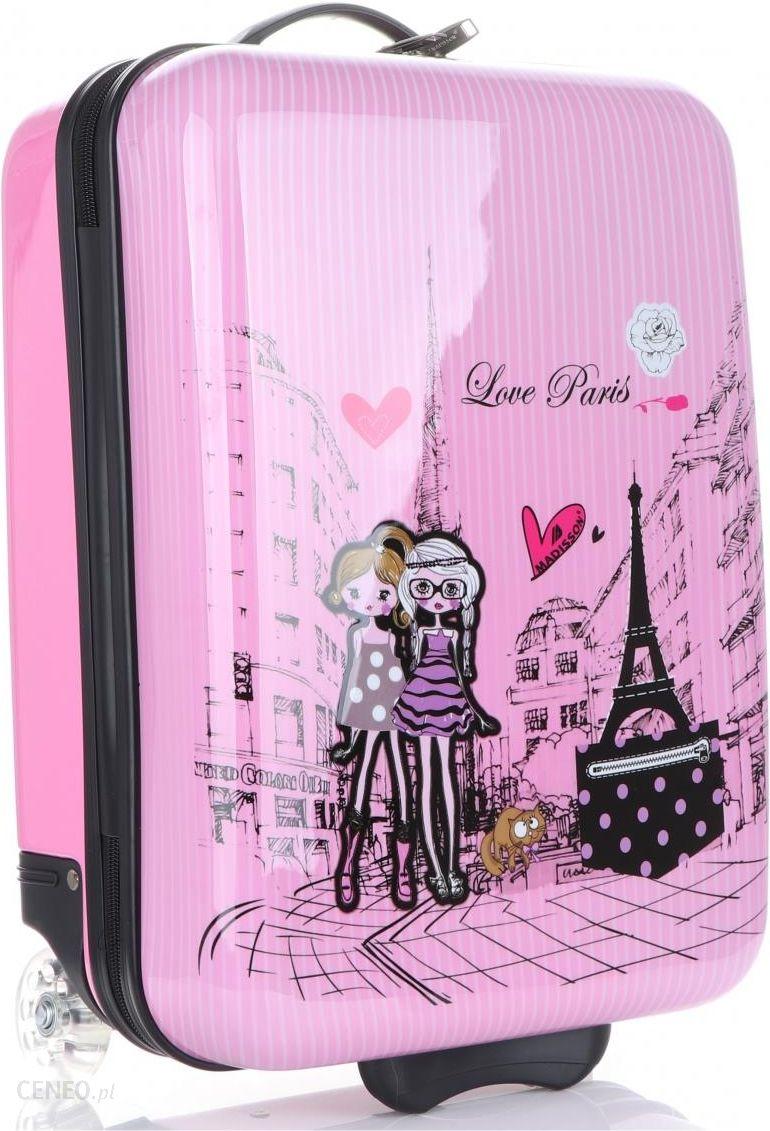f0f25e263d6e3 Oryginalna Walizka Kabinówka Dla Dzieci Paris Firmy Madisson Multikolor -  Różowa - zdjęcie 1