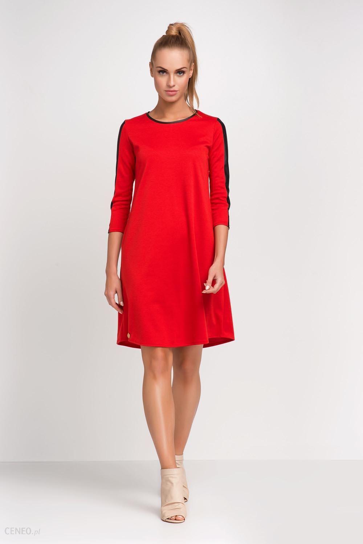 daa24d3a2337a Makadamia Czerwona Trapezowa Sukienka do Pracy z Wstawkami z Eko-skóry -  zdjęcie 1