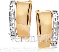 7cf01fd2df4e36 Verona Kolczyki Złote Dwukolorowe Z Antycznym Wzorem Pr. 333 Zw-X-X07-