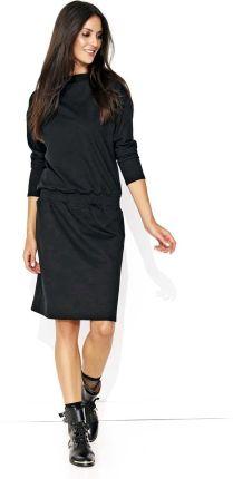 26e4bddee6 Makadamia Dresowa Czarna Sukienka ze Ściągaczem