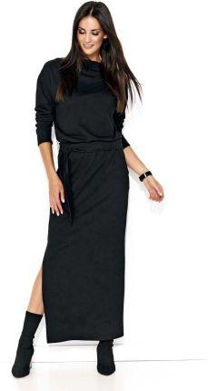 049b65dd4c Makadamia Czarna Długa Sukienka z Wiązaniem na Szyji - Ceny i opinie ...