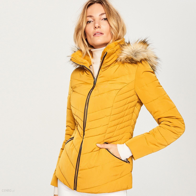 d2dda43a00519 Reserved - Pikowana kurtka z kapturem - Żółty - Ceny i opinie - Ceneo.pl