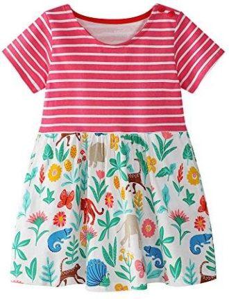 60d163ca3c Amazon vikita dziewcząt bawełna paski kwiaty z krótkim rękawem letnia  sukienka - A-linie