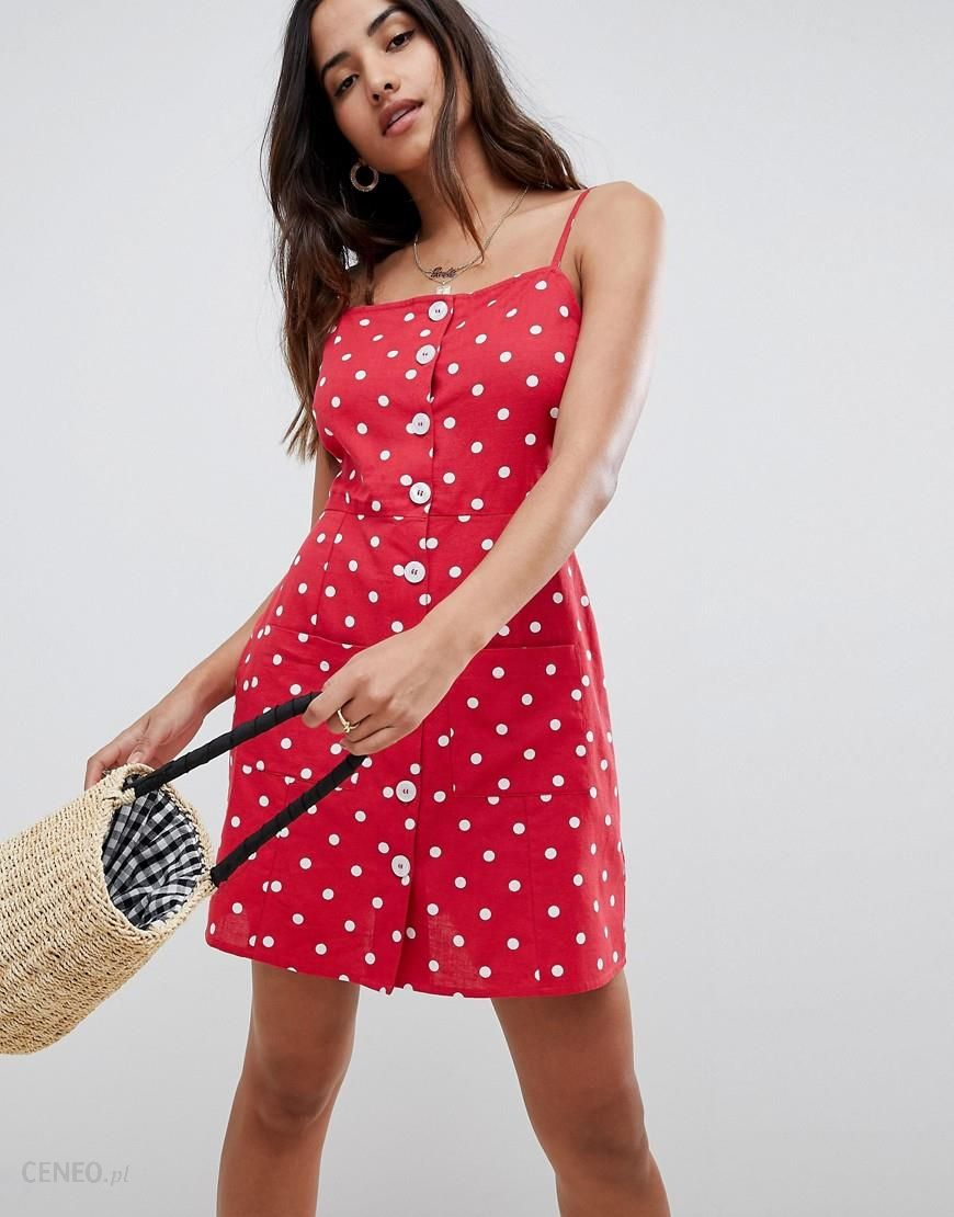 d736da4e35 ASOS DESIGN polka dot button through linen mini sundress - Multi - zdjęcie 1