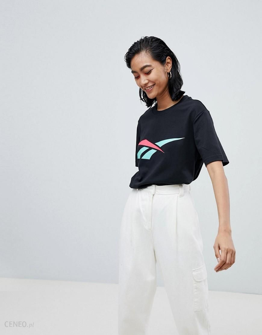 Reebok T Shirt With Contrast Vector Logo Black Ceneo.pl