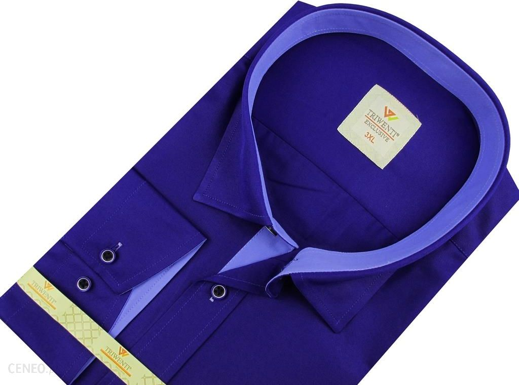 Koszula Męska Triwenti gładka chabrowa na długi rękaw duże  VyLpV