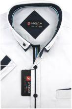 1110bba1e1e1 Koszula Męska Speed.A gładka biała SLIM FIT z podwójnym kołnierzykiem na  krótki rękaw K709