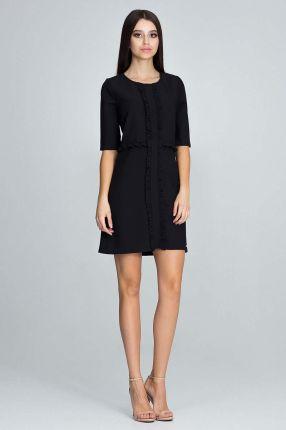 60f6635b75 Reserved - Sukienka z tkaniny devoré - Czarny - Ceny i opinie - Ceneo.pl