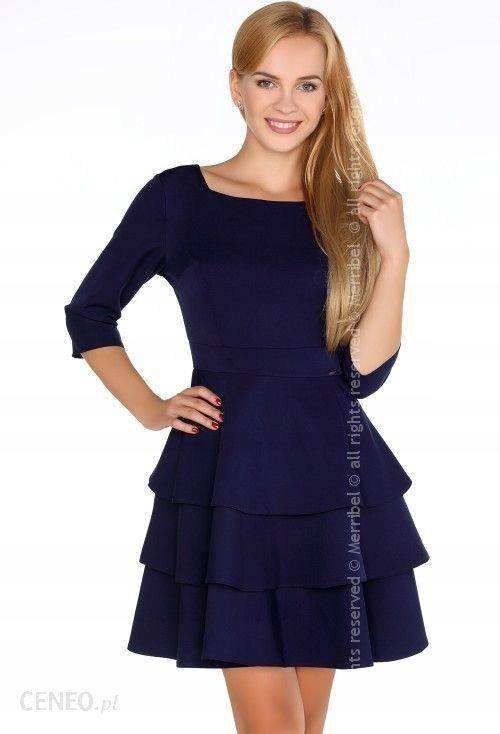 a7f390c312 Niebieska rozkloszowana sukienka falbana mini S 36 - Ceny i opinie ...