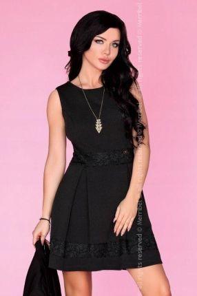 a380dffed9 Czarna elegancka zdobiona haft sukienka mini L 40 Allegro