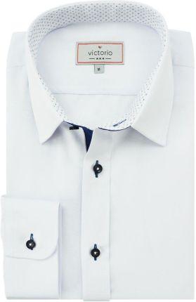 BORGIO koszula mozza 00201 na spinki biały slim fit 176182
