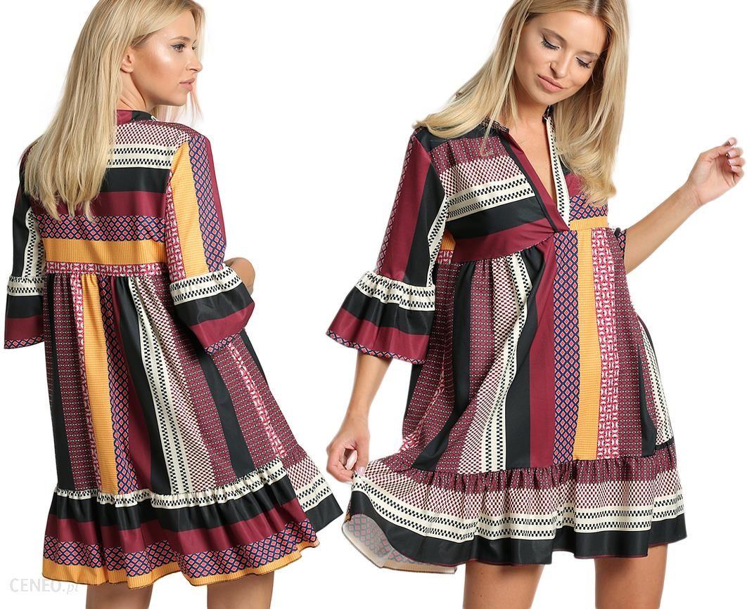 22f3646ed629 Luźna sukienka wzory patchwork rozkloszowana F22 - Ceny i opinie ...