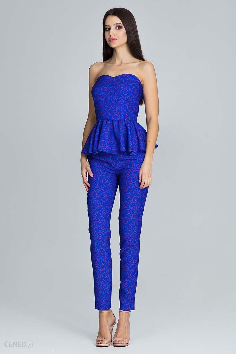 bb25eea3dd Niebieski Elegancki Komplet Gorsetowa Bluzka + Długie Spodnie - zdjęcie 1