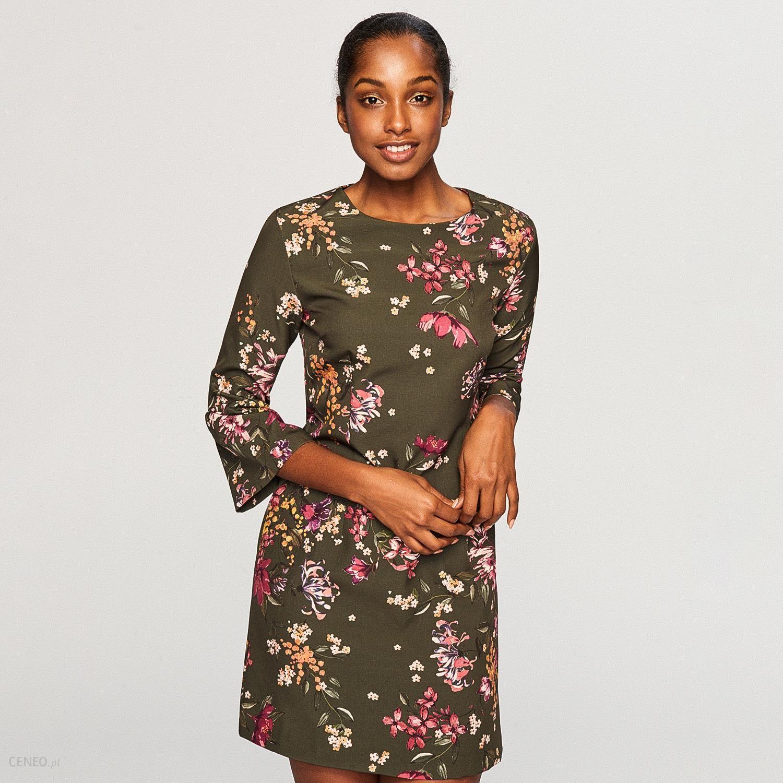 17c9cad805 Reserved - Sukienka w kwiaty - Brązowy - Ceny i opinie - Ceneo.pl