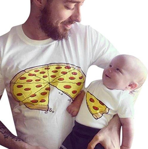 fb268132931b76 Amazon MCYs rodzina ubrania mężczyzna ojciec syn dziecko okrągły dekolt krótki  rękaw pizza nadruk t-