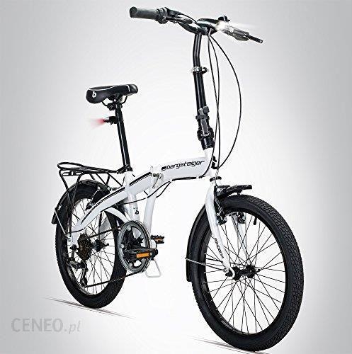 Amazon Bergsteiger Windsor Składany Rower Koła 20 Cali Przerzutki Shimano 6 Biegów Oświetlenie Led System Quick Fold Biały Ceneopl