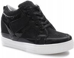 d70f027c Sneakersy koturny trampki botki 6088-Y Black 38 Allegro