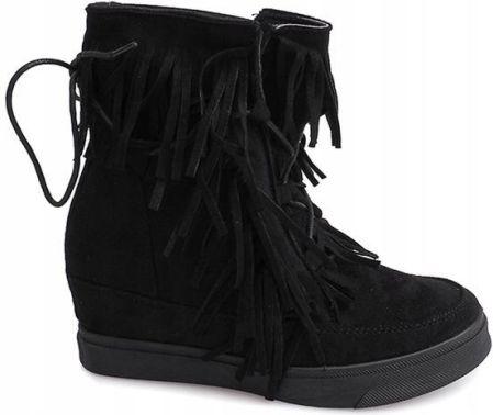 ac83e73f0e740 Sneakersy Botki Zamsz Koturn AT-0615-L Czarny 37 - Ceny i opinie ...