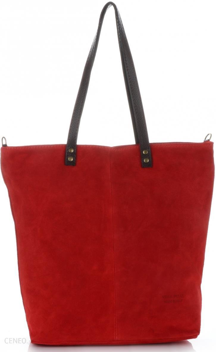 ff00eaa029b8f Pojemne Torebki Skórzane typu ShopperBag firmy Vera Pelle Czerwone (kolory)  - zdjęcie 1