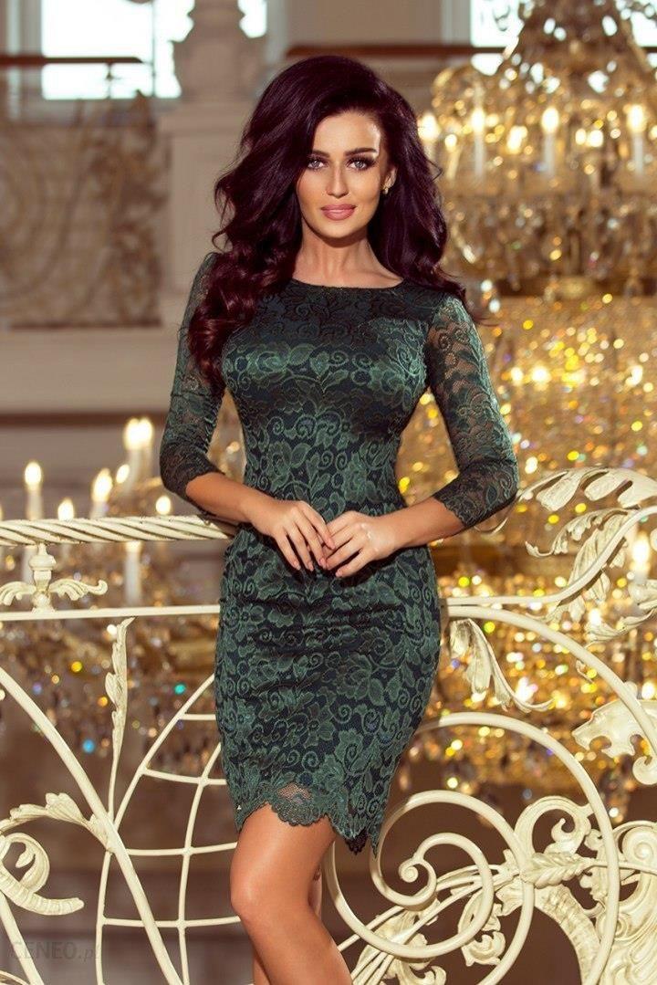 fa6e57d882abe3 180-3 Sukienka koronkowa z ozdobnymi wykończeniami - ZIELONA jasna -  zdjęcie 1