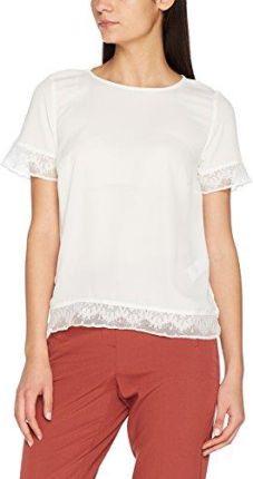 Amazon New Look damski T-Shirt Olive Dobby Lace Trim - krój regularny 40  biały 4d959dd995e