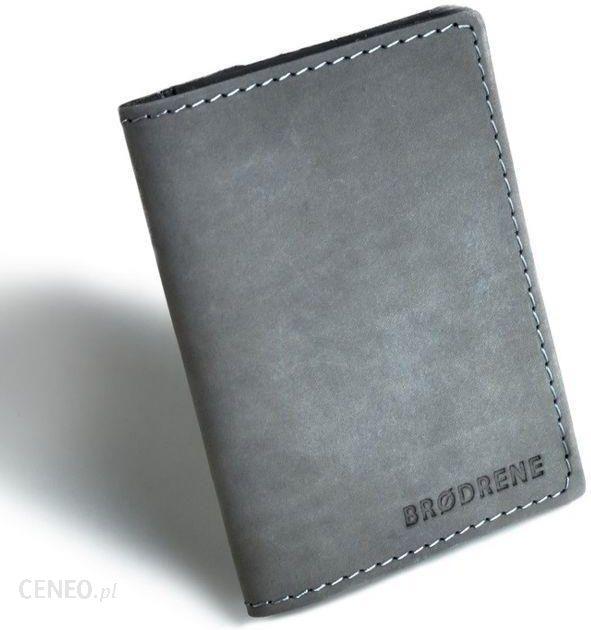 5ee904d2a41bf Szary cienki portfel ze skóry naturalnej z bilonem slim wallet brodrene  sw04 - zdjęcie 1
