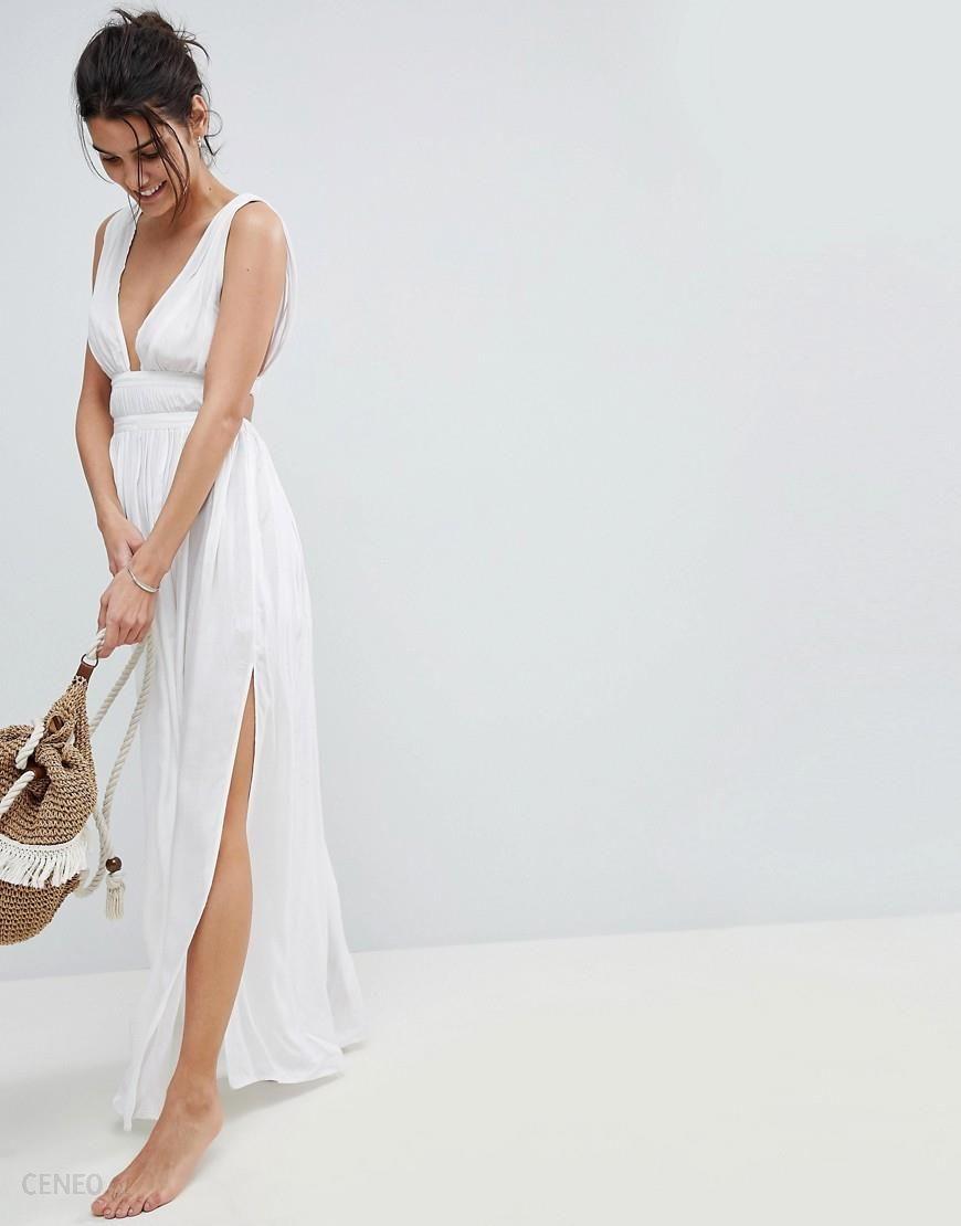 3d654f1600a ASOS DESIGN Grecian Plunge Maxi Woven Beach Dress - White - zdjęcie 1