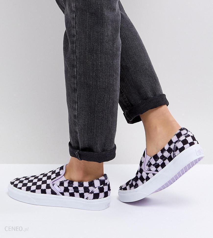 Vans Fluffy Lilac Checkerboard Slip On Sneakers Purple