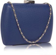 0abb2f8be343d Niebieska gładka torebka wizytowa szkatułka - niebieski