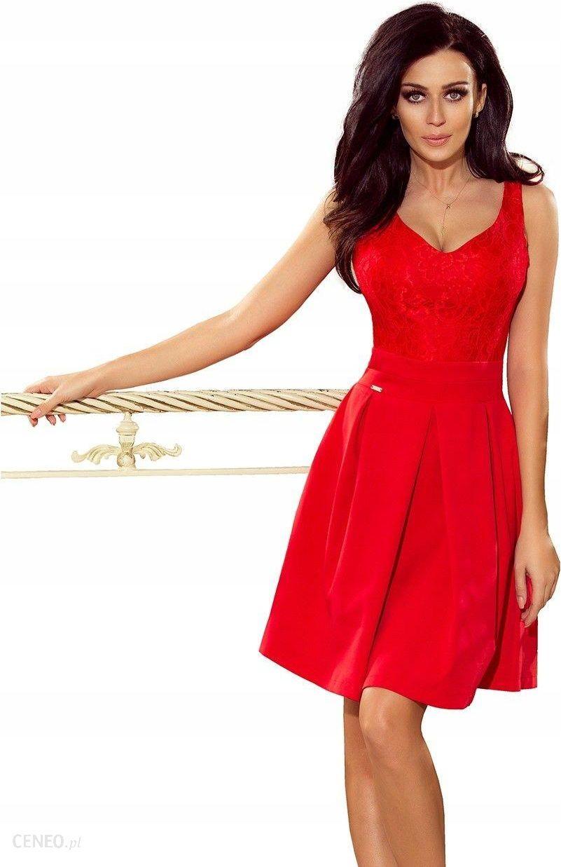 Super Hit! Piękna Czerwona Sukienka Koronkowy Dekolt 34 - Ceny i opinie UE14