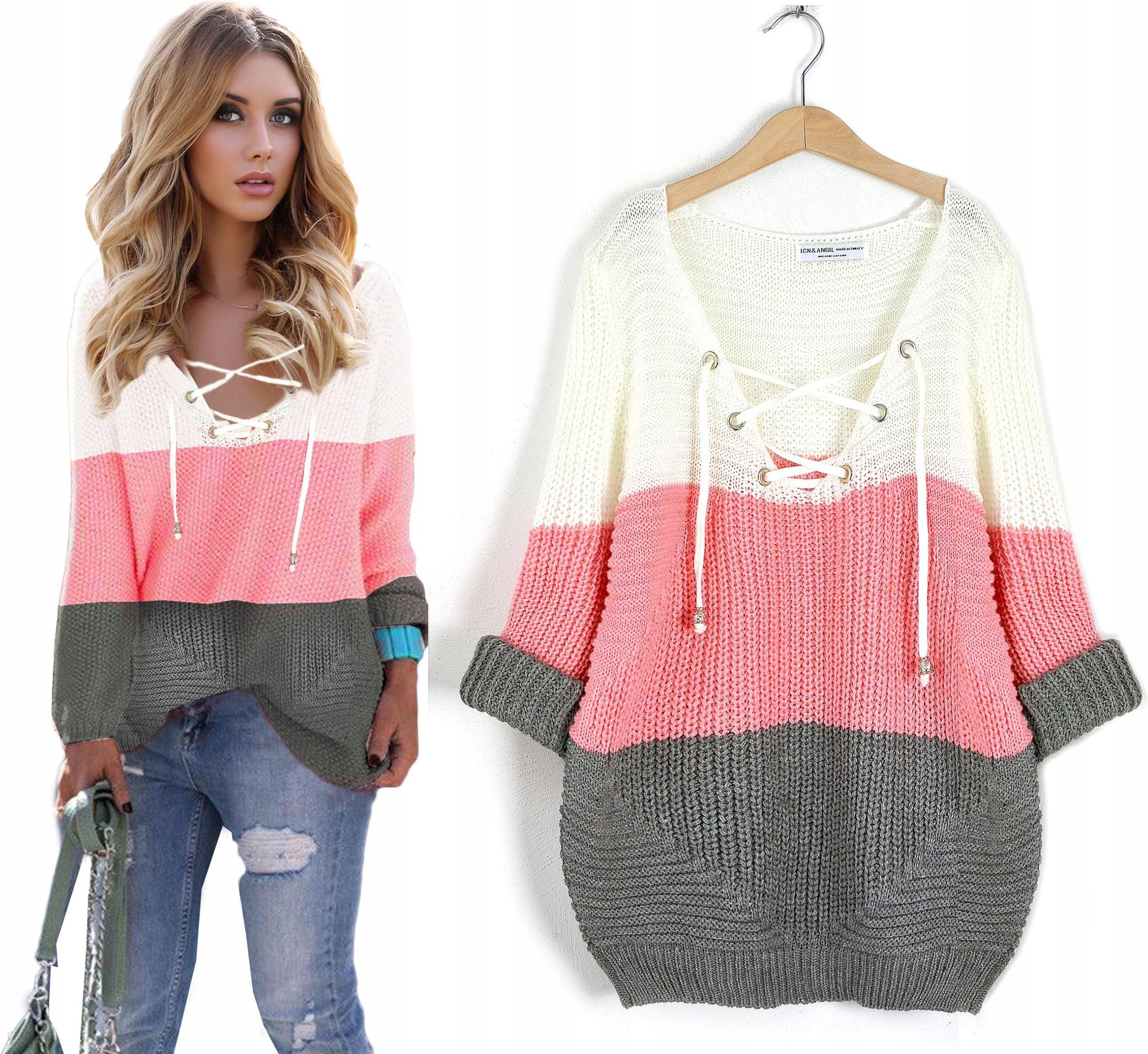 f081197a35723f Zjawiskowy Sweter sznurowany dekolt V modne pasy - Ceny i opinie ...
