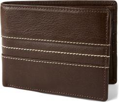 2560b07507d9f Brązowy skórzany zszywany potrójnie składany portfel Royce