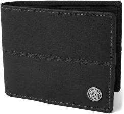 2b35db0412a38 Czarny skórzany zszywany portfel Oxford