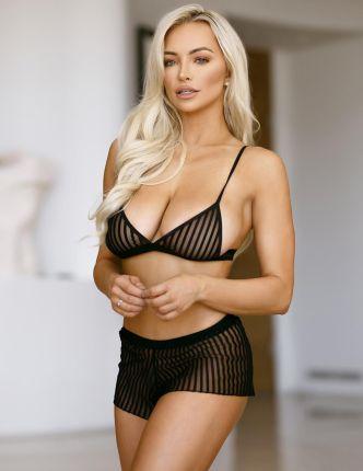 52903494f6654a Bsl Lingerie Biustonosz + Bokserki Prześwitujący Sexy Komplet Bielizny  72390853