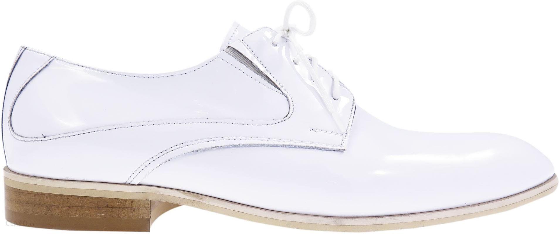 Unikalne białe lakierki męskie buty wizytowe T7 Rozmiar