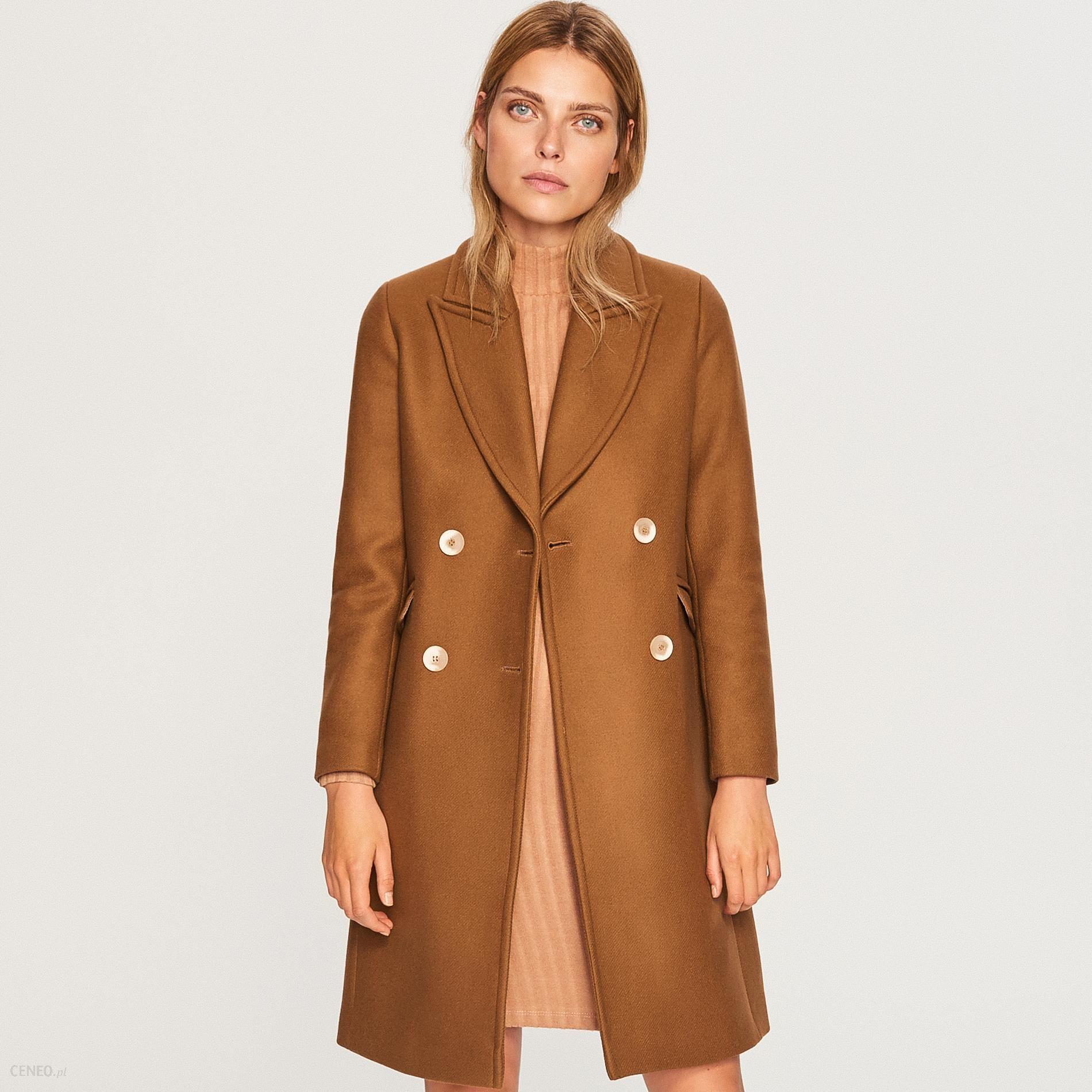 fa902589b0ffe Reserved - Wełniany płaszcz z domieszką kaszmiru - Brązowy - Ceny i ...
