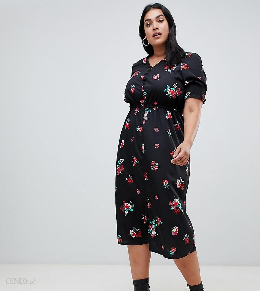 678cf68857bb Influence Plus shirred sleeve floral midi dress with button down front -  Black - zdjęcie 1