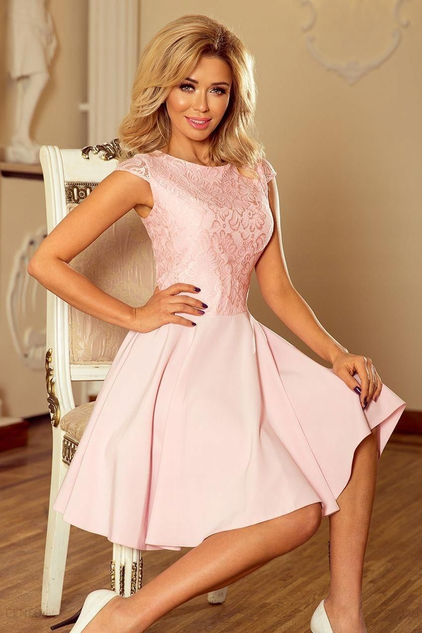 bf26bb4336 Modna Rozkloszowana Sukienka Wesele Pastel Róż S - Ceny i opinie ...