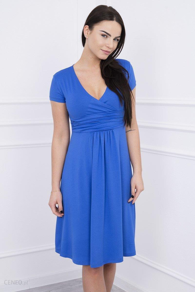 e86ab8357d4730 Sukienka z odcięciem pod biustem, krótki rękaw chabrowa - Chabrowy -  zdjęcie 1