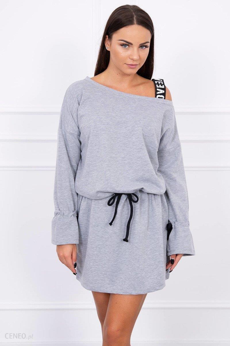 483cc4b5d0 Sukienka z wiązanym rękawem szary - Szary - Ceny i opinie - Ceneo.pl