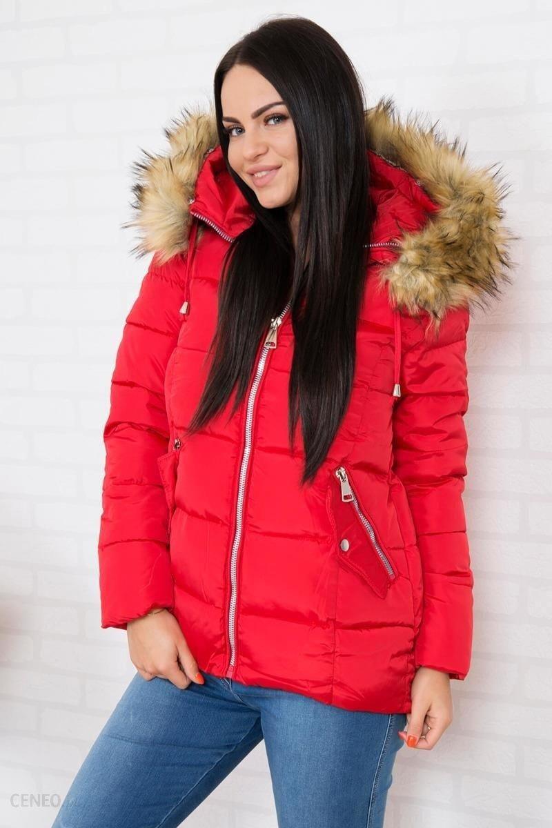 kurtka puchowa z dłuższym tyłem damska czerwona