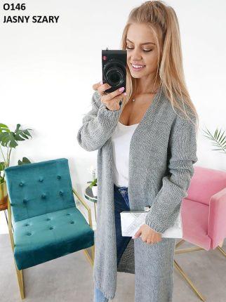 a479b595f0894d Idealny Długi Sweter Narzutka Kardigan Uni O146 Allegro