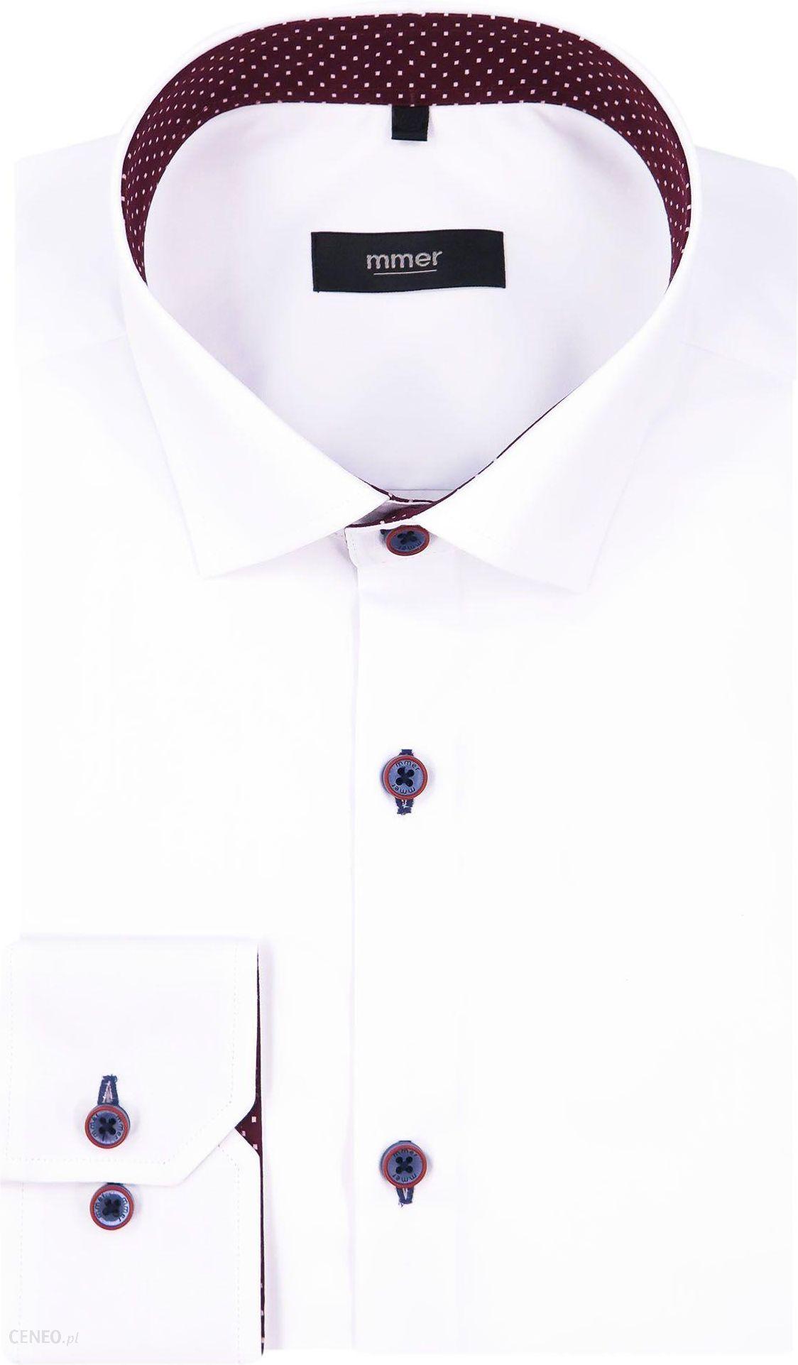 Biała koszula w granatowe kropki A14 DŁUGI RĘKAW