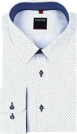 2404c50d7be672 Kastor - Koszule męskie Biała koszula męska w granatowy wzór K49