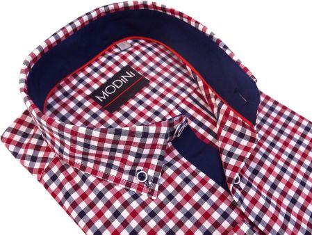 d7908e0e3b7cf2 Modini Moda Męska Koszula męska w czerwono-granatową kratę A28
