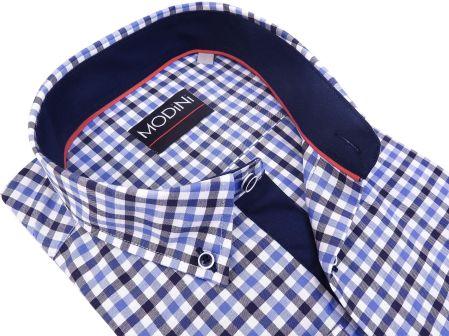 80b03991bebb70 Modini Moda Męska Koszula męska w niebiesko-granatową kratę A29