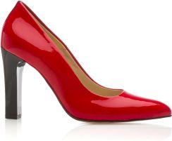 8ce06544742c Czółenka czerwone lakierowane z czarnym paskiem Arturo Vicci